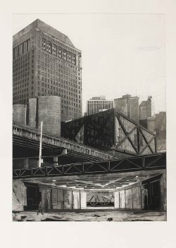 """Alex Thompson, Sector 1, 2017, etching and aquatint on paper, paper size: 30"""" x 22""""."""