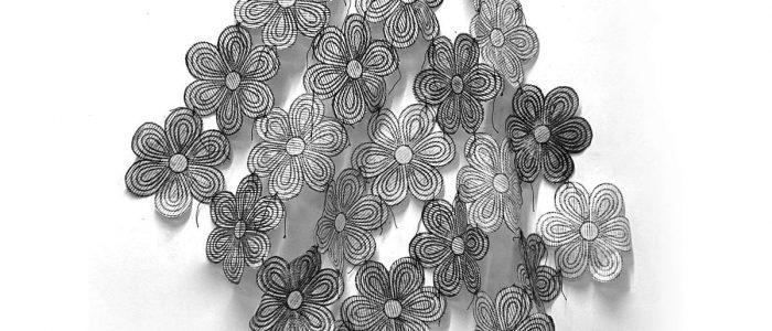 """Fatima Garzan, Breeze, 2018, collagraph, cotton thread, 57"""" x 42"""", $1,200. Photo courtesy of the artist."""