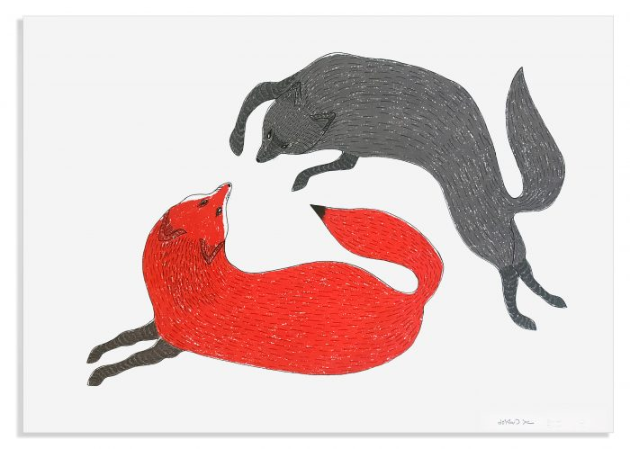 Quvianaqtuk Pudlat, Playful Foxes I, 2020, screenprint, edition of 30, 22″ x 30″, $800.