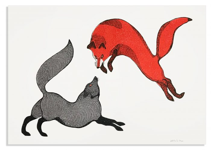 Quvianaqtuk Pudlat, Playful Foxes II, 2020, screenprint, edition of 30, 22″ x 30″, $800.