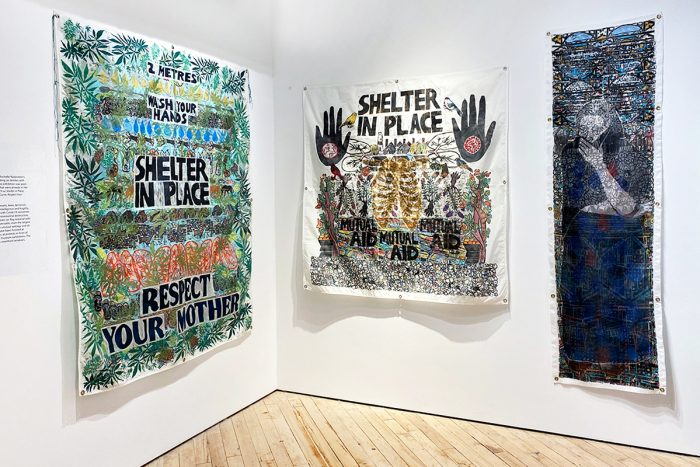 Rochelle Rubinstein, installation shot, left to right: 'RESPECT YOUR MOTHER', 'SHELTER IN PLACE 2', and 'DROUGHT'.