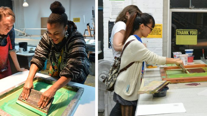 Your donation makes an impact and provides artists with access to printmaking opportunities, like screenprinting demos for students.